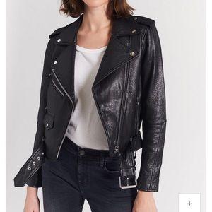 Current/Elliott Black Leather Moto Jacket NWT